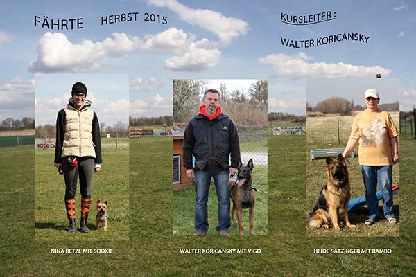 Hundeschule Rabensburg - Kursteilnehmer Fährten im Herbst 2015