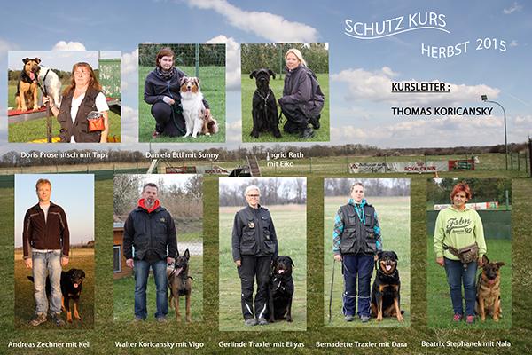 Hundeschule Rabensburg - Kursteilnehmer Schutzhundekurs im Herbst 2015