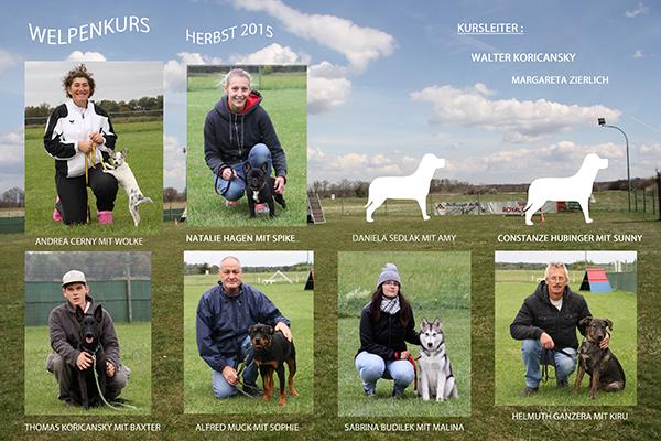 Hundeschule Rabensburg - Kursteilnehmer Welpenkurs im Herbst 2015